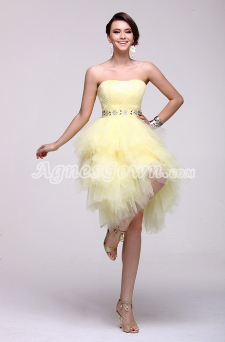Perfect Knee Length Puffy Daffodil Damas Dress