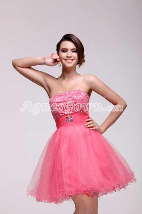 Adorable Puffy Short Length Peach Sweet Sixteen Dress