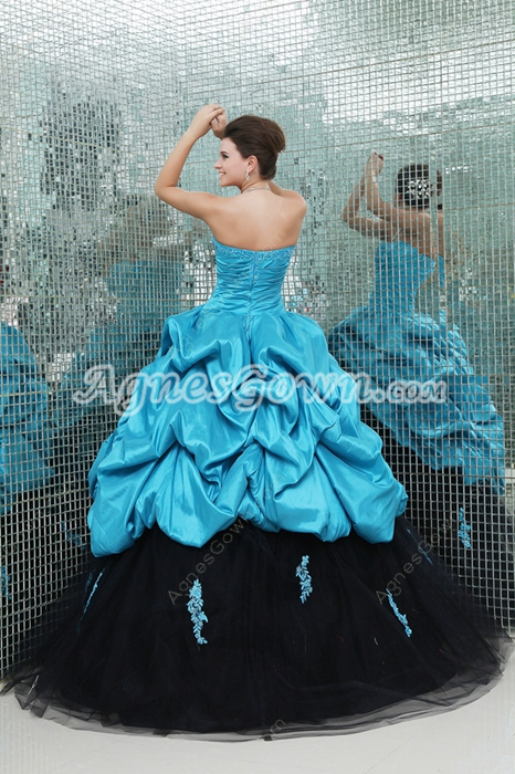 Brilliant Multi Colored Blue & Black Ball Gown Quinceanera Dress