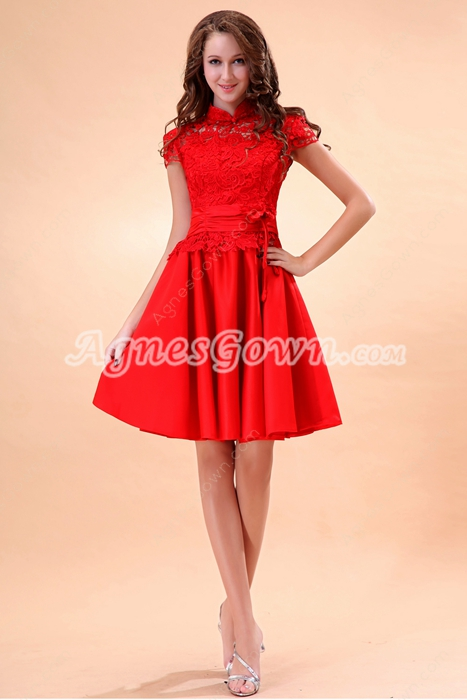 High Collar Short Sleeves Mini Length Red Homecoming Dress