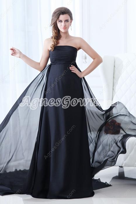 Flattering Strapless Empire Full Length Black Chiffon Plus Size Prom Dress