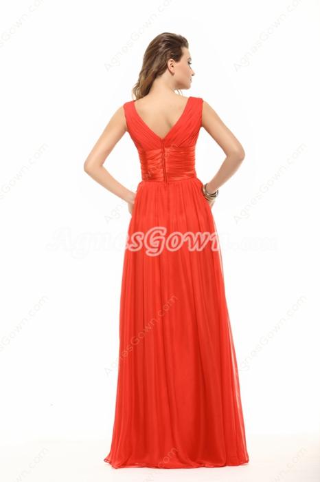 Terrific V-neckline Red Evening Dress