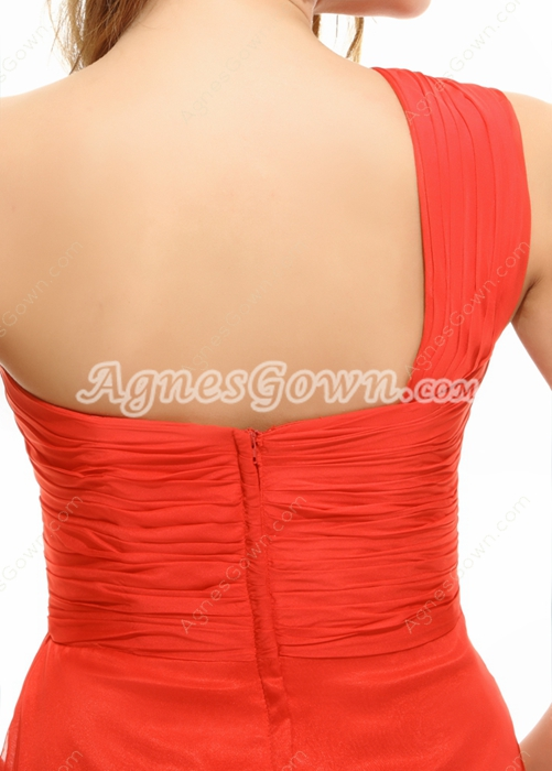 Cherry Red One Shoulder Junior Prom Party Dress