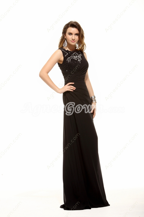 Jewel Neckline Column Black Mother Dress