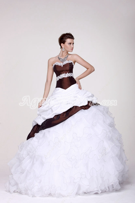 Vintage Dipped Neckline Ball Gown Brown & White Vestidos de Quinceanera Dress
