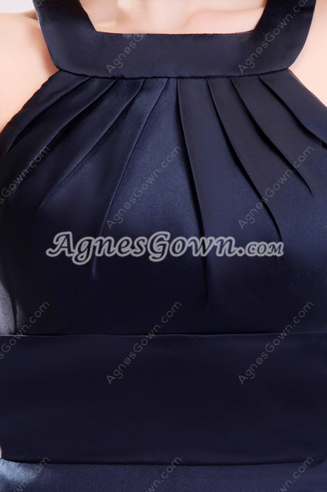 Exquisite Square Neckline Knee Length Dark Navy Wedding Guest Dress