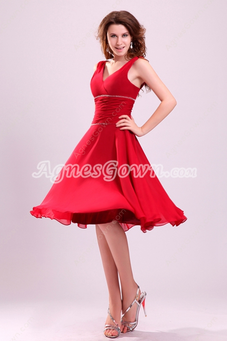 Knee Length Red Chiffon Wedding Guest Dress