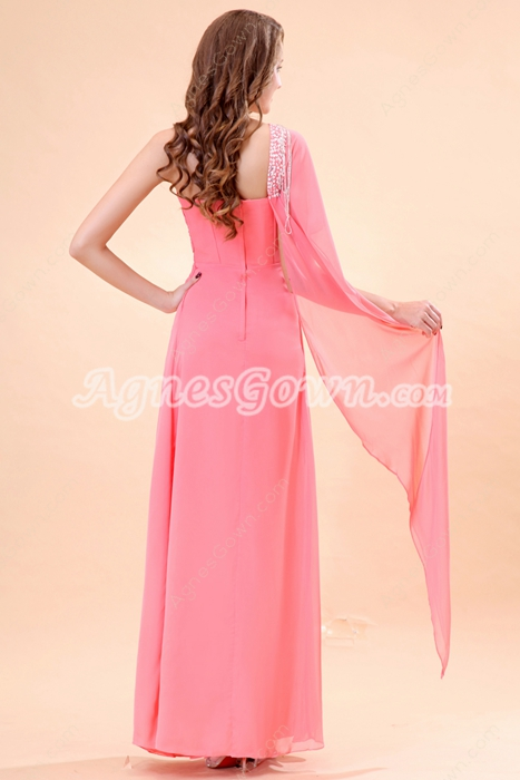 One Shoulder Short Sleeves Ankle Length Watermelon Prom Dress