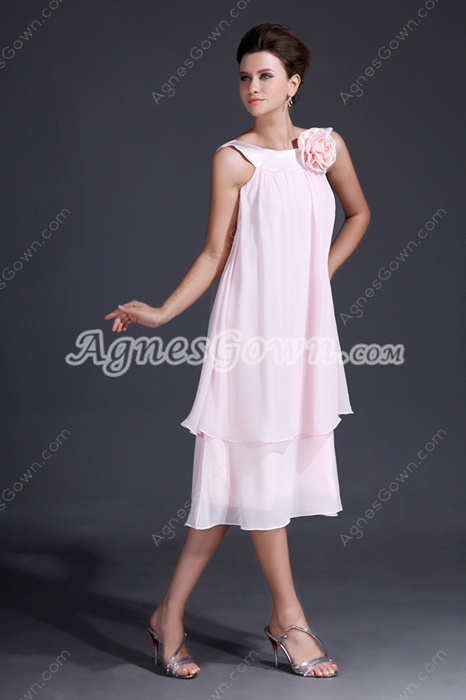 Fancy Jewel Neckline Tea Length Pink Chiffon Wedding Guest Dress