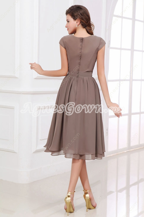 Mother of the bride dresses cap sleeves knee length brown for Brown dresses for wedding guest