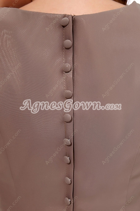 Cap Sleeves Knee Length Brown Chiffon Mother Of The Groom Dress
