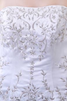 Simple Satin Embroidery Wedding Dress Corset Back