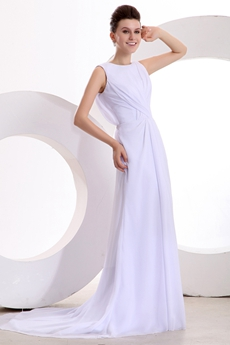 v-Back A-line Full Length White Chiffon Destination Wedding Dress