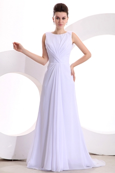 v-Back A-line Full Length White Chiffon Destination Wedding Dress