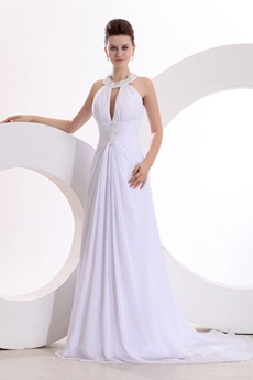 Sexy A-line Chiffon Summer Wedding Dress Front Keyhole Bust