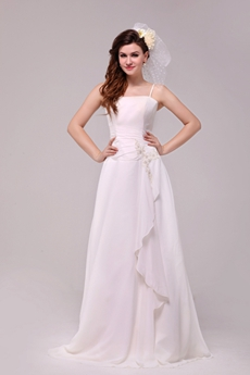 Grecian Spaghetti Straps A-line Chiffon Casual Beach Wedding Dress