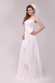 Grecian Spaghetti Straps A-line Chiffon Casual Beach Wedding Dress