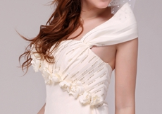 Off The Shoulder Simple Wedding Dress With Beads