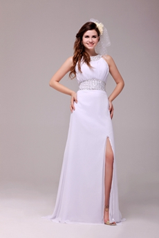 Crossed Straps A-line White Chiffon Summer Beach Wedding Dress Front Slit