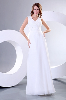 Straps A-line White Chiffon Casual Beach Wedding Dress