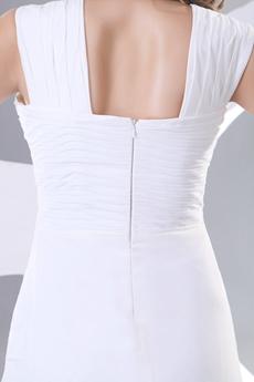 Straps A-line White Chiffon Casual Beach Wedding Dress