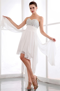 Stunning High Low Beach Wedding Dress