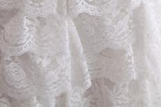 Knee Length V-Neckline White Lace Beach Wedding Dress With Blue Sash