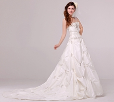 2016 Classy Strapless Taffeta Plus Size Wedding Dress With Embroidery