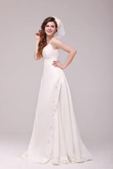 Classical Spaghetti Straps Ivory Satin Simple Wedding Dress