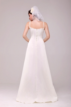 Classical Spaghetti Straps Ivory Satin Simple Wedding Dress