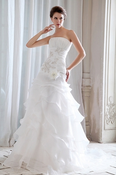 Noble Organza Wedding Dress With Tiered