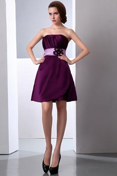 Short Length Grape Satin Spring Bridesmaid Dress