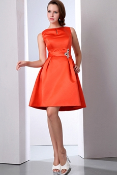 Bateau Neckline Mini Length Orange Satin Wedding Guest Dress