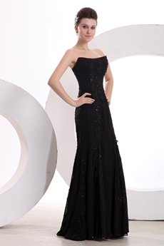 Special A-line Black Prom Dress With Lace & Beads