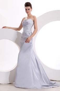 Graceful Strapless A-line Silver Satin Modest Prom Dress