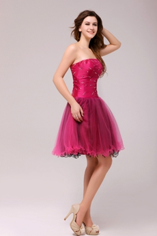 Gentle Hot Pink & Black Mini Length Sweet Sixteen Dress