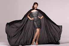 Stunning Sheath Mini Length Sparkled Black Cocktail Dress