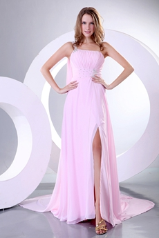 Single Straps A-line Pink Chiffon Evening Dress Front Slit