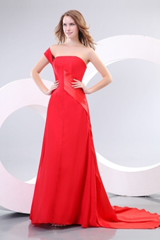 Attractive Red Chiffon One Shoulder Celebrity Evening Dress