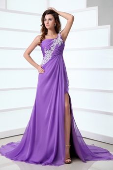 One Straps A-line Purple Chiffon Celebrity Evening Dress Front Slit