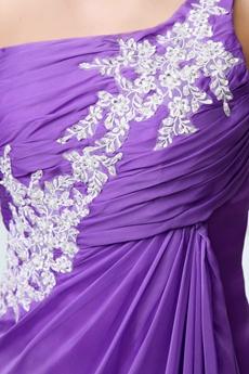 One Straps A-line Purple Chiffon Celebrity Evening Dress Front Slit