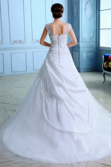 Exclusive Cap Sleeves Taffeta & Tulle Bridal Dress