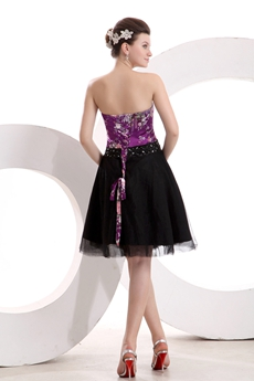 Vintage Knee Length Black & Purple Quinceanera Dress For Damas