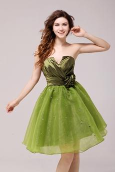 Inexpensive Cowl Knee Length Green Sweet Sixteen Dress