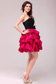 Modern Black & Fuchsia Taffeta Mini Length Sweet Sixteen Dress