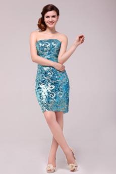 Chic Strapless Sheath Mini Length Turquoise Nightclub Dress
