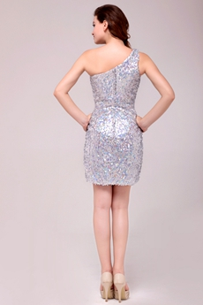 Chic One Shoulder Sheath Sparkled Cocktail Dress