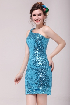 Modern Blue Sequined Sparkled Cocktail Dress