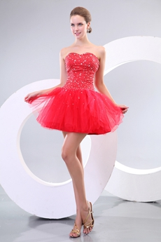 Chic Sweetheart Puffy Short Length Red Damas Dress With Heavy Beads