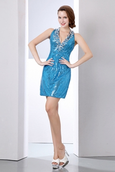 Sexy V-Neckline Mini Length Sparkled Blue Cocktail Dress